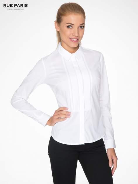 Biała elegancka koszula damska z marszczonym przodem