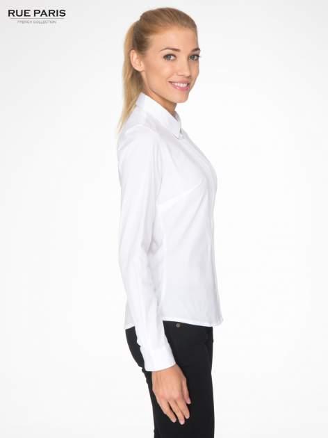 Biała elegancka koszula damska z marszczonym przodem                                  zdj.                                  3