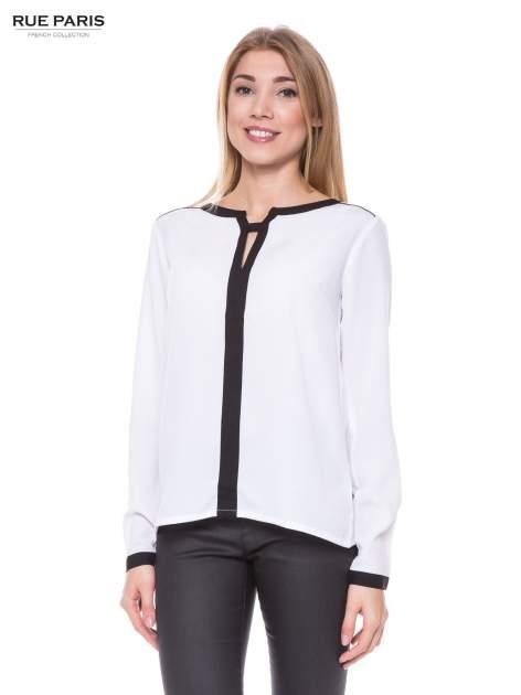 Biała elegancka koszula z kontrastową listwą i dekoltem