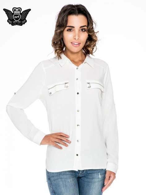 Biała elegancka koszula z suwakami i napami                                  zdj.                                  1