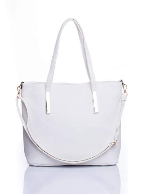 Biała fakturowana torba shopper bag