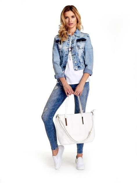 Biała fakturowana torba shopper bag                                  zdj.                                  2