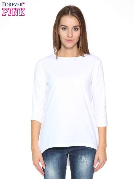 Biała gładka bluzka z dłuższym tyłem