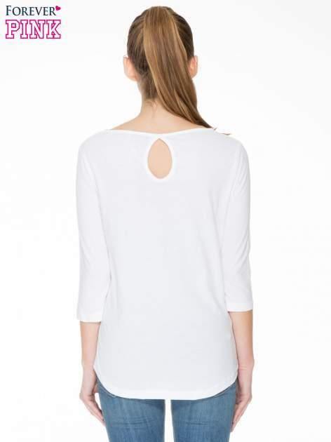 Biała gładka bluzka z łezką z tyłu                                  zdj.                                  4