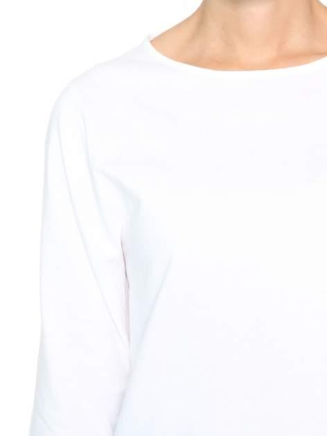 Biała gładka bluzka z rękawem 3/4                                  zdj.                                  6