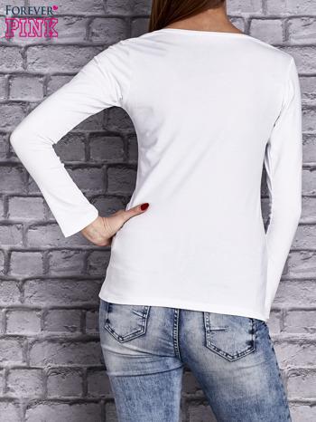 Biała gładka bluzka ze sznurowanym dekoltem i troczkami                                   zdj.                                  4