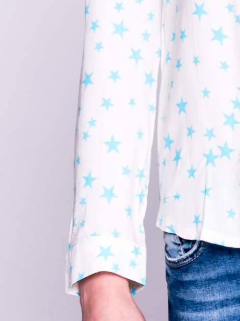 Biała klasyczna koszula damska w gwiazki                                  zdj.                                  5