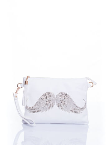 Biala kopertówka z dżetami motyw wąsów