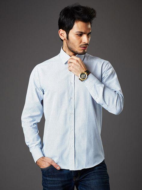 Biała koszula męska o prostym kroju w drobny wzór                              zdj.                              1