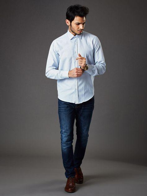 Biała koszula męska o prostym kroju w drobny wzór                              zdj.                              6