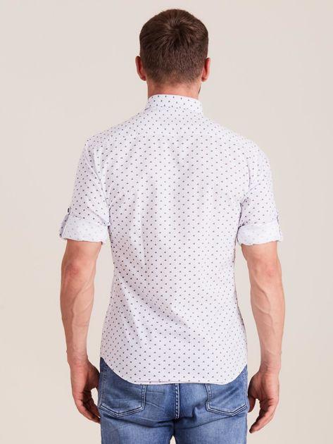 Biała koszula męska w drobne wzory                              zdj.                              2