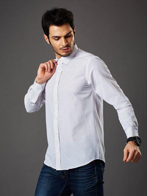 Biała koszula męska w granatowo-czerwone kropki regular fit                              zdj.                              6