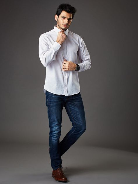 Biała koszula męska w granatowo-czerwone kropki regular fit                              zdj.                              8