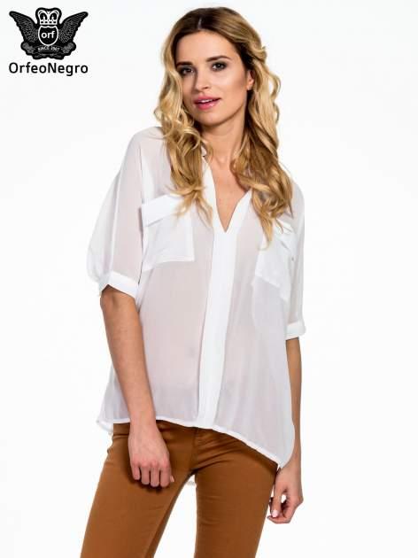 Biała koszula mgiełka z kieszonkami                                  zdj.                                  1