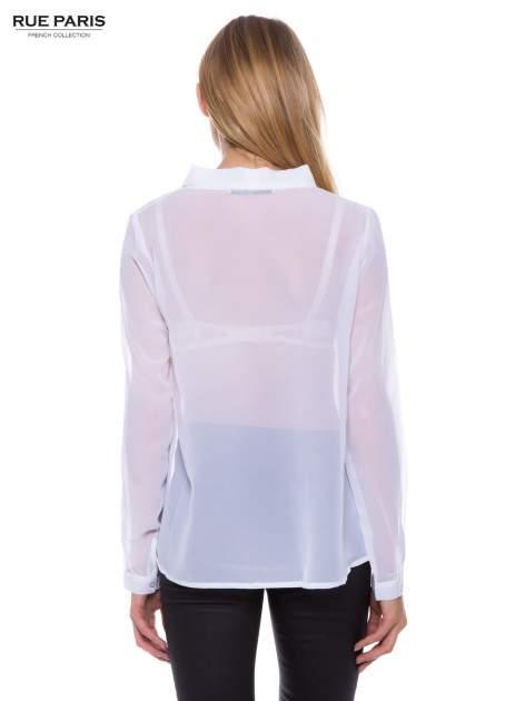 Biała koszula mgiełka z kokardą                                  zdj.                                  2