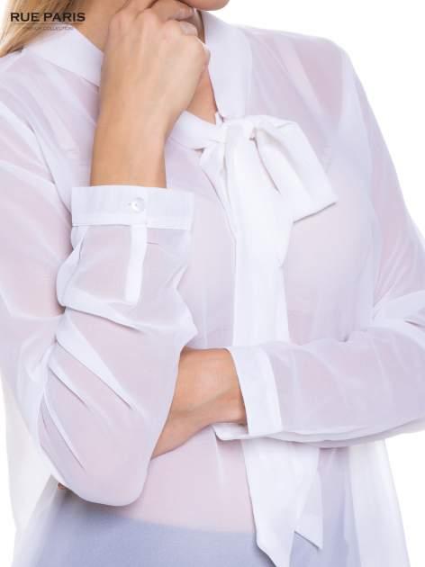 Biała koszula mgiełka z kokardą                                  zdj.                                  5