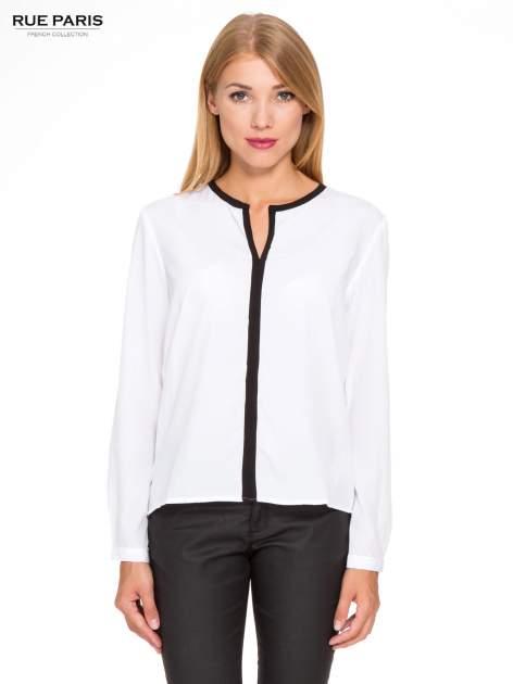 Biała koszula z kontrastową listwą                                  zdj.                                  1