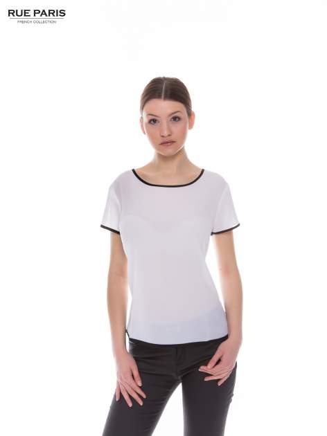 Biała koszula z krótkim rękawem i kontrastową lamówką