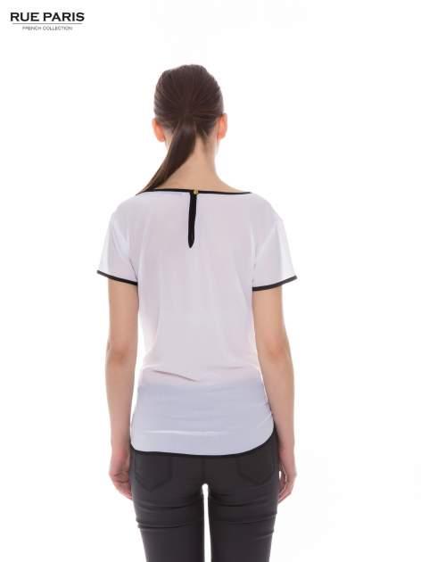 Biała koszula z krótkim rękawem i kontrastową lamówką                                  zdj.                                  3