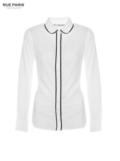 Biała koszula z małym kołnierzykiem i kontrastowym obszyciem                                  zdj.                                  5