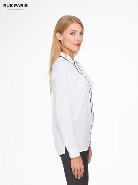 Biała koszula z małym kołnierzykiem i kontrastowym obszyciem                                  zdj.                                  3
