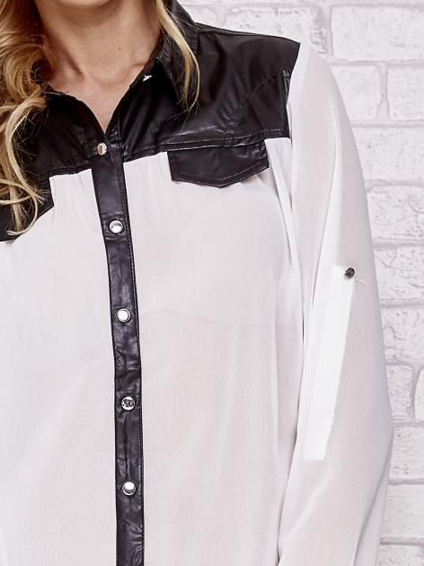Biała koszula ze skórzaną listwą i kołnierzykiem                                  zdj.                                  6