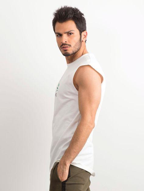 Biała koszulka męska z nadrukiem                              zdj.                              3
