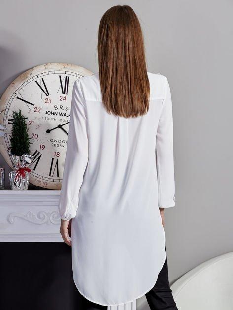 Biała koszulowa tunika z koronką                              zdj.                              2