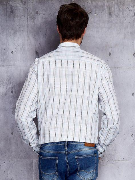 Biała kraciasta koszula męska PLUS SIZE                              zdj.                              2