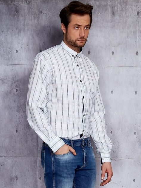 Biała kraciasta koszula męska PLUS SIZE                              zdj.                              5