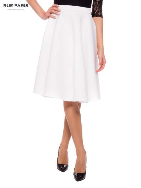 Biała neoprenowa spódnica midi szyta z koła                                  zdj.                                  1