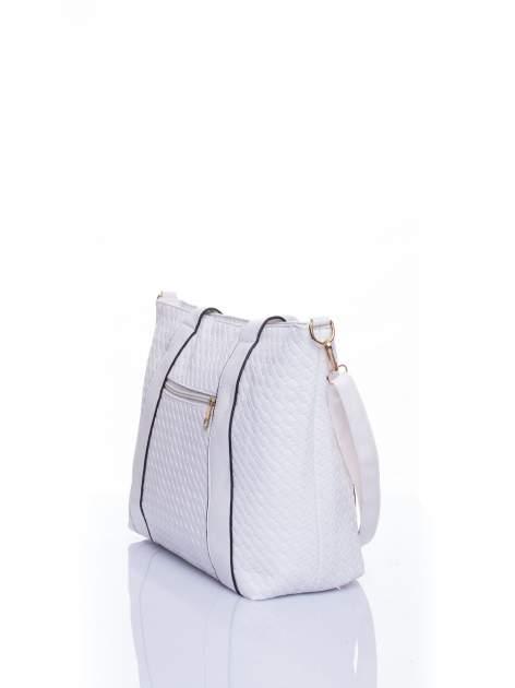 Biała pleciona torebka z suwakami                                  zdj.                                  4
