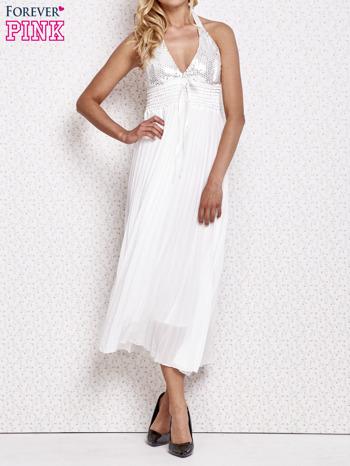 Biała plisowana sukienka maxi wiązana na plecach                                  zdj.                                  1
