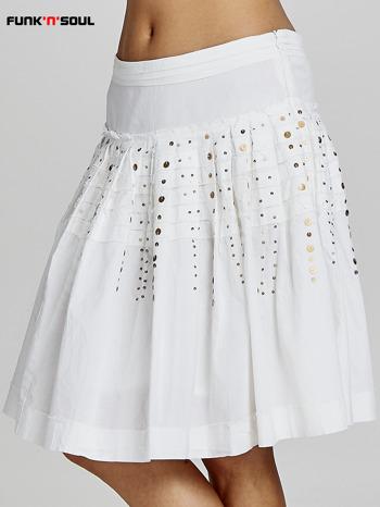 Biała rozkloszowana spódnica z cekinami Funk n Soul                                  zdj.                                  1