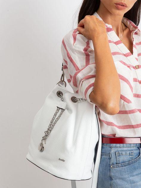 Biała skórzana torba ze ściągaczem                              zdj.                              5