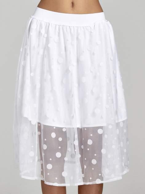 Biała spódnica z tiulową warstwą w groszki                                  zdj.                                  5