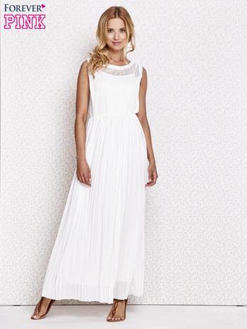 Biała sukienka maxi z koronkowym przodem                                  zdj.                                  2