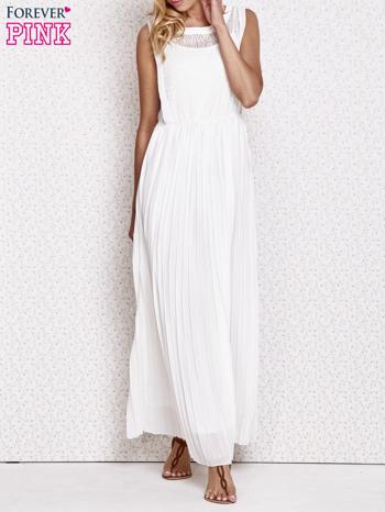 Biała sukienka maxi z koronkowym przodem                                  zdj.                                  1