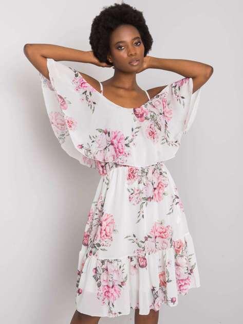 Biała sukienka w kwiaty Nerissa OCH BELLA