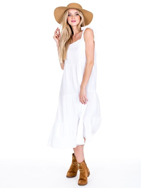 Biała sukienka wiązana na ramionach                              zdj.                              4