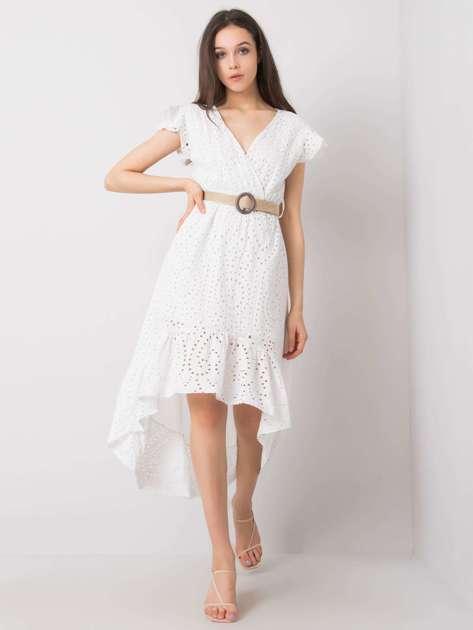 Biała sukienka z falbaną Maisie OCH BELLA
