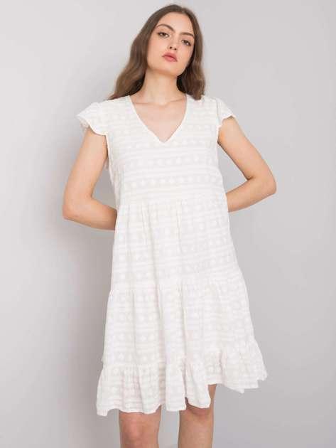 Biała sukienka z haftami Clementine
