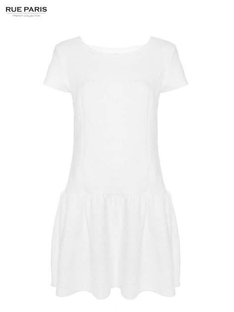 Biała sukienka z obniżoną talią i falbaną na dole                                  zdj.                                  10