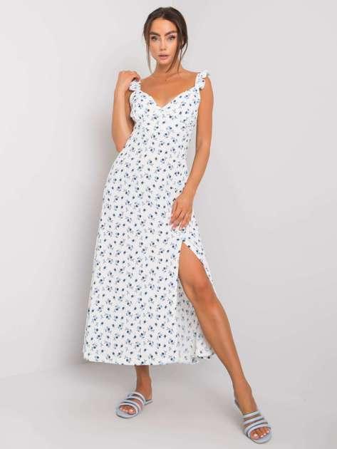 Biała sukienka z rozcięciem Hilaire RUE PARIS