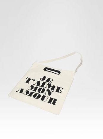 Biała torba shopper bag z napisem JE T'AIME MON AMOUR                                  zdj.                                  5