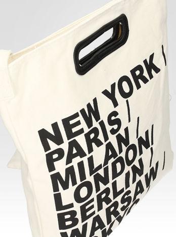Biała torba shopper bag z printem                                  zdj.                                  6