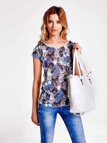 Biała torba shopperka z odczepianym paskiem