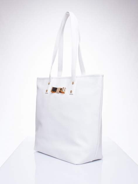 Biała torebka shopper bag z kokardką                                  zdj.                                  3
