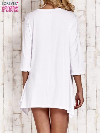 Biała tunika dresowa z aplikacją kotów z cekinów                                  zdj.                                  4
