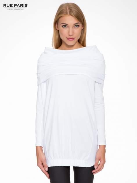 Biała tunika dresowa z kominokapturem i ściągaczem na dole